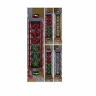 Kerst inpakpapier setje 10-delig rood/groen