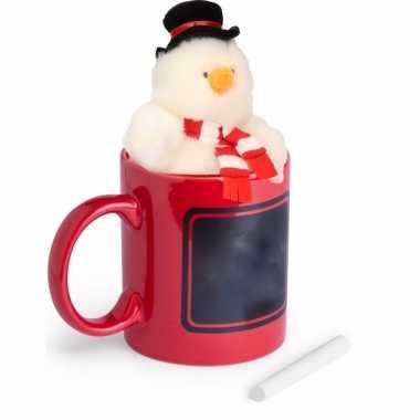 Kerst kadomok met pluche sneeuwpop