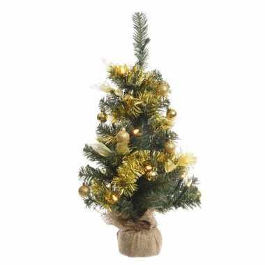 Kerst kunstboom groen/goud 60 cm met 20 warm witte lampjes
