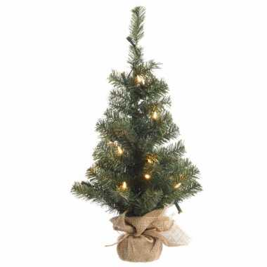 Kerst kunstboom groen met warm wit licht 60 cm