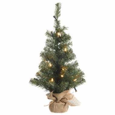 Kerst kunstboom groen met warm wit licht 75 cm