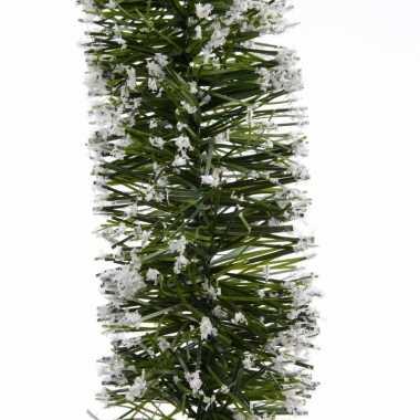 Kerst lametta guirlande groen besneeuwd 7 x 270 cm kerstboom versieri