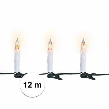 Kerst lampjes kaarsen flakkerend 12 meter