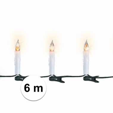 Kerst lampjes kaarsen flakkerend 6 meter