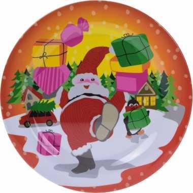 Kerst ontbijtbord met kerstman 25 cm