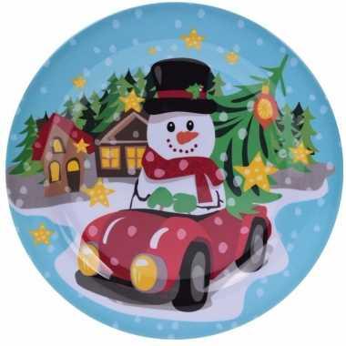 Kerst ontbijtbord met sneeuwpop 25 cm