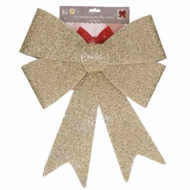 Kerst piek gouden strik met led 47 cm