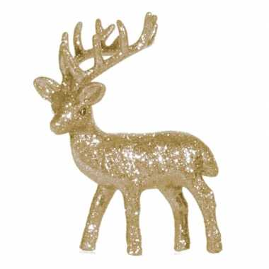 Kerst rendier goud met glitters 10 cm