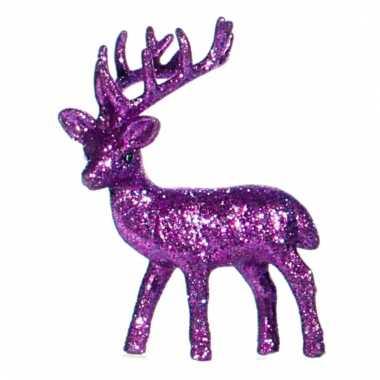 Kerst rendier paars met glitters 10 cm