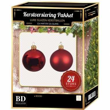 Kerst rode kerstversiering kerstballen 24-delig 6 cm