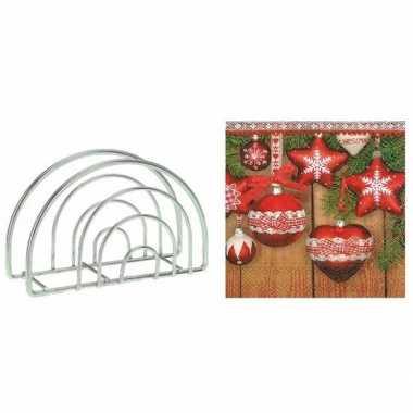 Kerst servettenhouder inclusief 20 kerstballen servetten rood