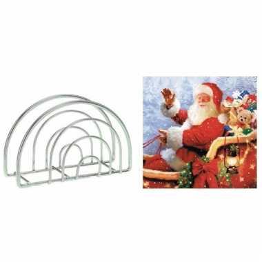 Kerst servettenhouder inclusief 20 kerstman servetten rood