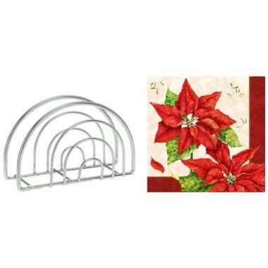 Kerst servettenhouder inclusief 20 kerstster servetten rood