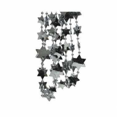 Kerst sterren kralen guirlande grijsblauw 270 cm kerstboom versiering