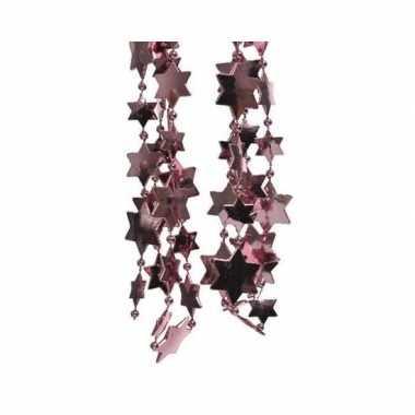 Kerst sterren kralen guirlande oud roze 270 cm kerstboom versiering/d