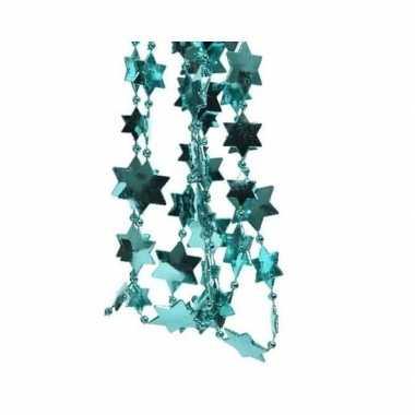 Kerst sterren kralen guirlande turquoise blauw 270 cm kerstboom versi
