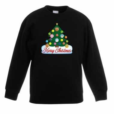 Kerst sweater met dierenvriendjes kerstboom voor kinderen