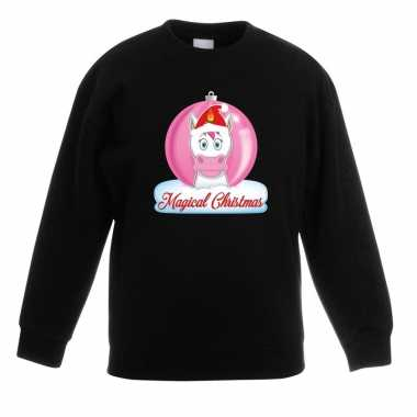 Kerst sweater / trui zwart met eenhoorn voor meisjes