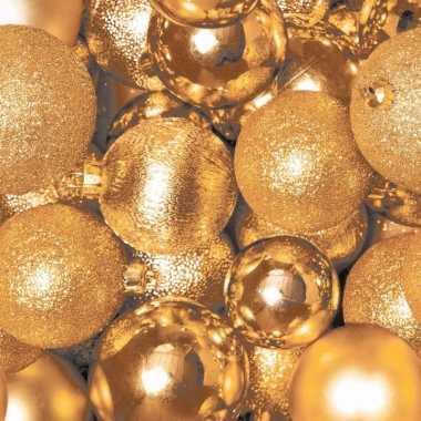 Kerst tafel servetten 33 x 33 cm gouden kerstballen