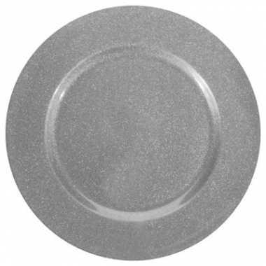 Kerst tafeldecoratie zilveren glitter diner onderborden kaarsenborden 33 cm