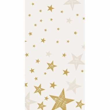 Kerst tafelkleed wit met gouden sterren