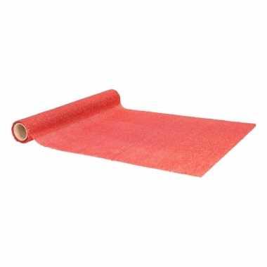 Kerst tafelloper rood met glitters 500 x 28 cm