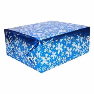 Kerst thema inpakpapier 3 rollen blauw/zilver 150 cm