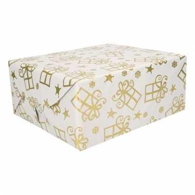 Kerst thema inpakpapier 3 rollen wit/zilver/goud 150 cm