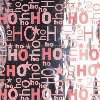 Kerst thema inpakpapier zilver/roze 1 rol 200 cm