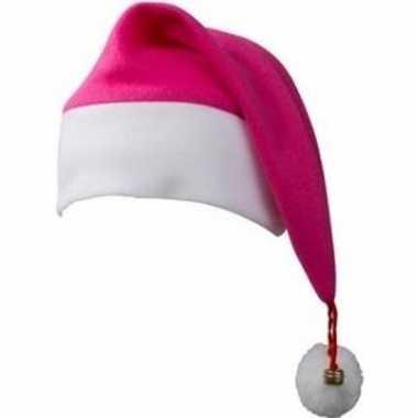 Kerst verkleedaccessoires kerstmutsen fuchsia roze/wit met belletjes