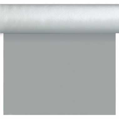 Kerst versiering papieren tafelkleed tafelloper placemats op rol 40 x 480 cm zilver zilverkleurig
