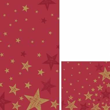 Kerst versiering set servetten en tafelkleed/tafellaken rood met goud