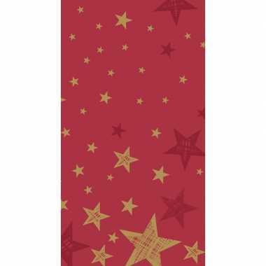 Kerst wegwerp tafelkleed rood met gouden sterren 138 x 220 cm