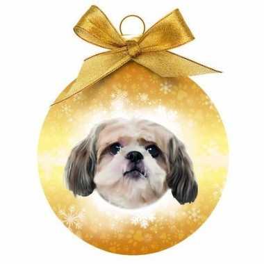 Kerstbal hond shih tzu 8 cm