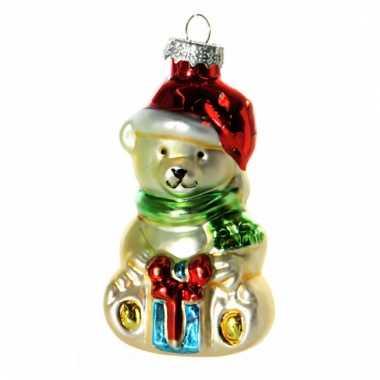 Kerstbal kerstbeertje 8 cm
