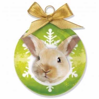 Kerstbal konijn 8 cm