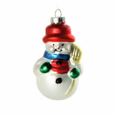 Kerstbal sneeuwpopje 8 cm