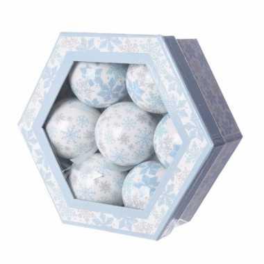 Kerstballen set met sneeuwvlok print 7 stuks 7 5 cm