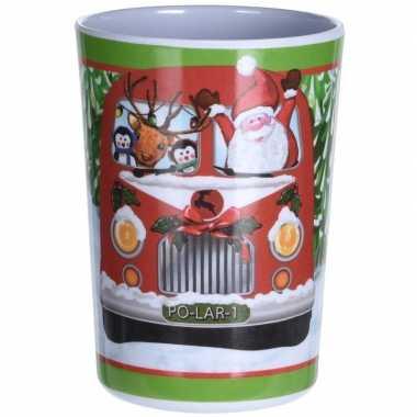 Kerstbeker met bus print 11 cm