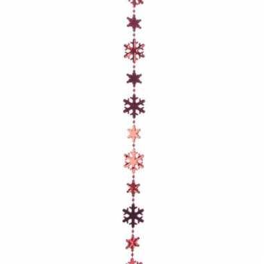Kerstboom decoratie sneeuwvlokken kralenslinger rood 270 cm