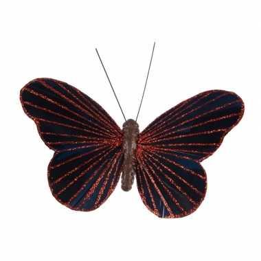 Kerstboom decoratie vlinder rood/zwart op clip 10 cm