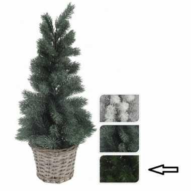 Kerstboom donkergroen in mand 60 cm