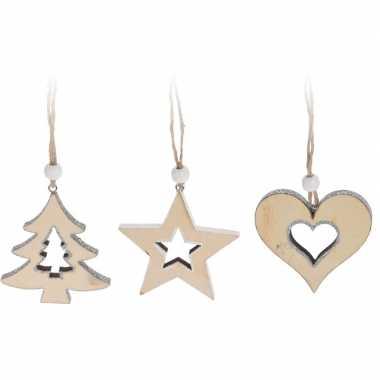 Kerstboom hangers hout wit 6 stuks 7 cm