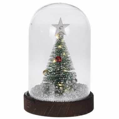 Kerstboom met verlichting in stolp 17 cm