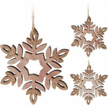 Kerstboom versiering sneeuwvlok hangers hout stuks 12 cm 2 stuks