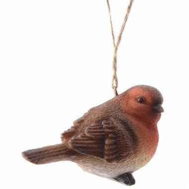 Kerstboomdecoratie hanger roodborst vogeltje 7 cm type 1