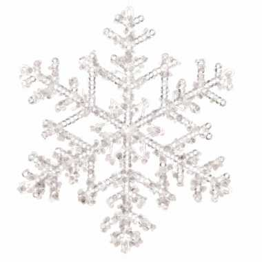 Kerstboomdecoratie hanger sneeuwvlok transparant 18 cm