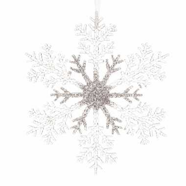 Kerstboomdecoratie hanger sneeuwvlok zilveren glitters 21 cm