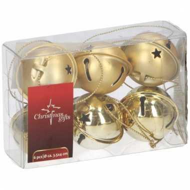 Kerstboomdecoratie kerstbellen goud 6 stuks