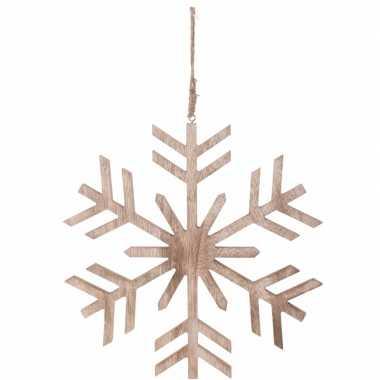 Kerstboomhanger sneeuwvlok bruin hout